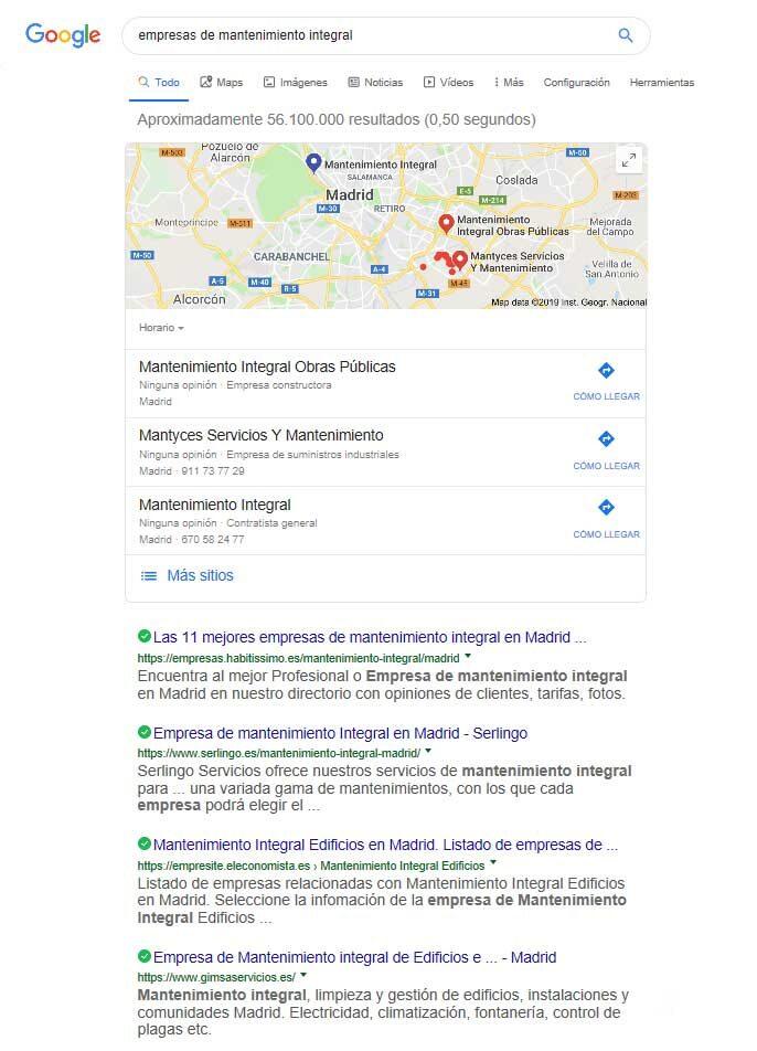 Resultados SERP Google