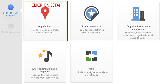 Categorias paginas locales Google