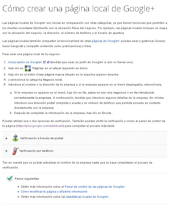 Cómo crear una página local de Google+