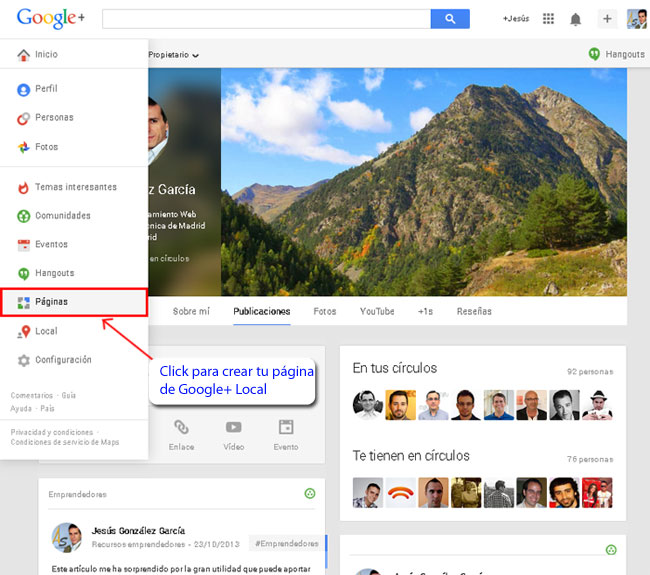 Crear una página de Google+ Local